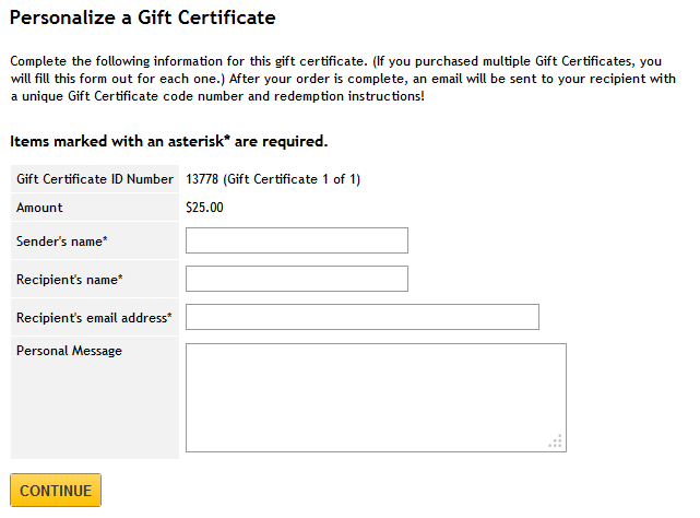 creating a gift certificate